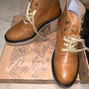 Tan Authentic Leather FreePeople Ankle Boots